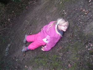 Elizabeth slid down the hill.